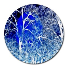 Winter Blue Moon Fractal Forest Background Round Mousepads