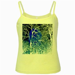 Winter Blue Moon Fractal Forest Background Yellow Spaghetti Tank