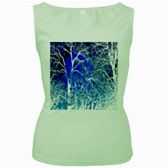 Winter Blue Moon Fractal Forest Background Women s Green Tank Top