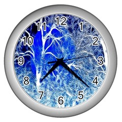 Winter Blue Moon Fractal Forest Background Wall Clocks (Silver)