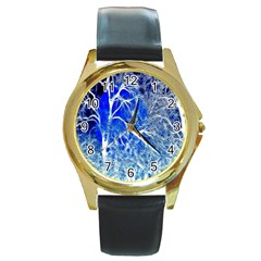 Winter Blue Moon Fractal Forest Background Round Gold Metal Watch