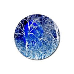 Winter Blue Moon Fractal Forest Background Rubber Round Coaster (4 pack)