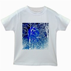 Winter Blue Moon Fractal Forest Background Kids White T Shirts