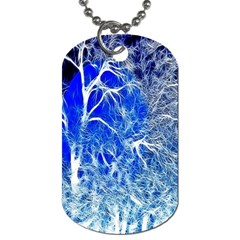 Winter Blue Moon Fractal Forest Background Dog Tag (Two Sides)