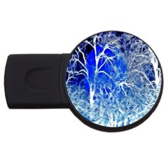 Winter Blue Moon Fractal Forest Background Usb Flash Drive Round (2 Gb)