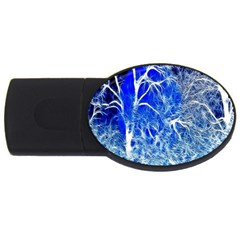 Winter Blue Moon Fractal Forest Background USB Flash Drive Oval (2 GB)