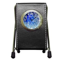 Winter Blue Moon Fractal Forest Background Pen Holder Desk Clocks