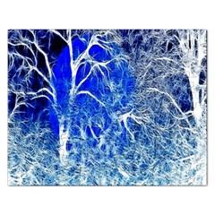 Winter Blue Moon Fractal Forest Background Rectangular Jigsaw Puzzl