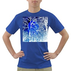 Winter Blue Moon Fractal Forest Background Dark T-Shirt