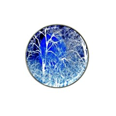 Winter Blue Moon Fractal Forest Background Hat Clip Ball Marker (4 pack)