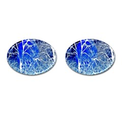 Winter Blue Moon Fractal Forest Background Cufflinks (Oval)