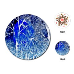 Winter Blue Moon Fractal Forest Background Playing Cards (round)