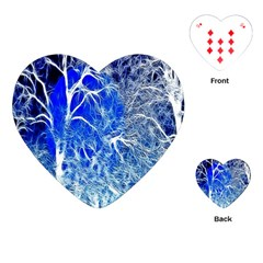 Winter Blue Moon Fractal Forest Background Playing Cards (Heart)