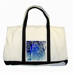 Winter Blue Moon Fractal Forest Background Two Tone Tote Bag