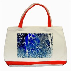 Winter Blue Moon Fractal Forest Background Classic Tote Bag (Red)