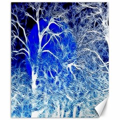 Winter Blue Moon Fractal Forest Background Canvas 20  X 24
