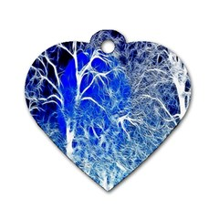 Winter Blue Moon Fractal Forest Background Dog Tag Heart (one Side)