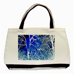 Winter Blue Moon Fractal Forest Background Basic Tote Bag (two Sides)
