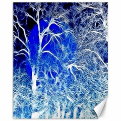 Winter Blue Moon Fractal Forest Background Canvas 11  X 14