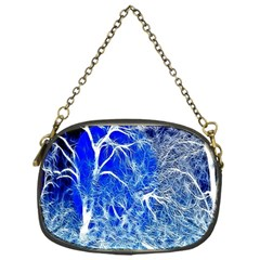 Winter Blue Moon Fractal Forest Background Chain Purses (one Side)