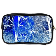 Winter Blue Moon Fractal Forest Background Toiletries Bags 2 Side