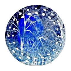 Winter Blue Moon Fractal Forest Background Ornament (round Filigree)