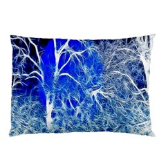 Winter Blue Moon Fractal Forest Background Pillow Case (two Sides)