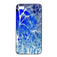 Winter Blue Moon Fractal Forest Background Apple iPhone 4/4s Seamless Case (Black)