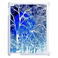 Winter Blue Moon Fractal Forest Background Apple iPad 2 Case (White)
