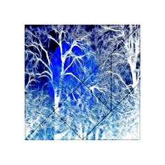 Winter Blue Moon Fractal Forest Background Acrylic Tangram Puzzle (4  x 4 )