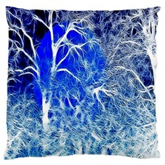 Winter Blue Moon Fractal Forest Background Large Cushion Case (One Side)