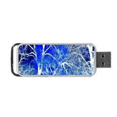 Winter Blue Moon Fractal Forest Background Portable USB Flash (One Side)