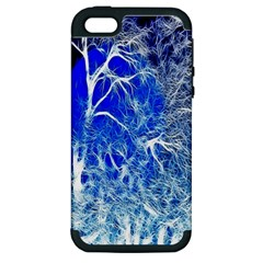 Winter Blue Moon Fractal Forest Background Apple iPhone 5 Hardshell Case (PC+Silicone)
