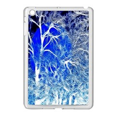 Winter Blue Moon Fractal Forest Background Apple iPad Mini Case (White)