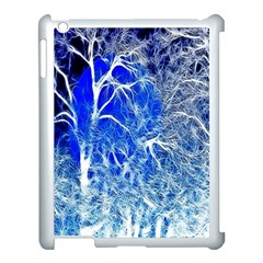Winter Blue Moon Fractal Forest Background Apple iPad 3/4 Case (White)