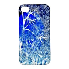 Winter Blue Moon Fractal Forest Background Apple iPhone 4/4S Hardshell Case with Stand