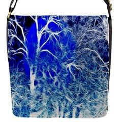 Winter Blue Moon Fractal Forest Background Flap Messenger Bag (s)