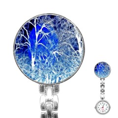 Winter Blue Moon Fractal Forest Background Stainless Steel Nurses Watch
