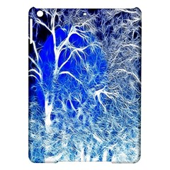 Winter Blue Moon Fractal Forest Background iPad Air Hardshell Cases