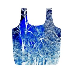 Winter Blue Moon Fractal Forest Background Full Print Recycle Bags (M)