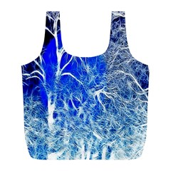 Winter Blue Moon Fractal Forest Background Full Print Recycle Bags (L)