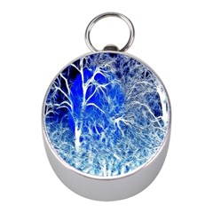 Winter Blue Moon Fractal Forest Background Mini Silver Compasses