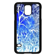 Winter Blue Moon Fractal Forest Background Samsung Galaxy S5 Case (Black)