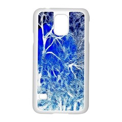 Winter Blue Moon Fractal Forest Background Samsung Galaxy S5 Case (white)