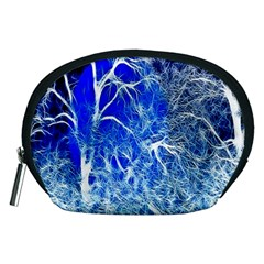 Winter Blue Moon Fractal Forest Background Accessory Pouches (Medium)
