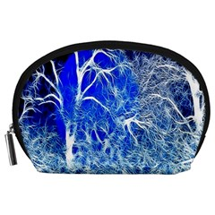Winter Blue Moon Fractal Forest Background Accessory Pouches (Large)