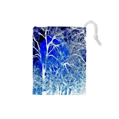 Winter Blue Moon Fractal Forest Background Drawstring Pouches (Small)