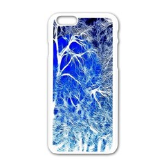 Winter Blue Moon Fractal Forest Background Apple iPhone 6/6S White Enamel Case