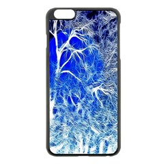 Winter Blue Moon Fractal Forest Background Apple iPhone 6 Plus/6S Plus Black Enamel Case