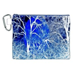 Winter Blue Moon Fractal Forest Background Canvas Cosmetic Bag (XXL)